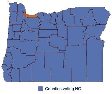Oregon counties voting no on 2014 ballot measure 88